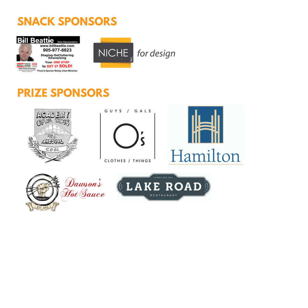 snack and prize sponsors